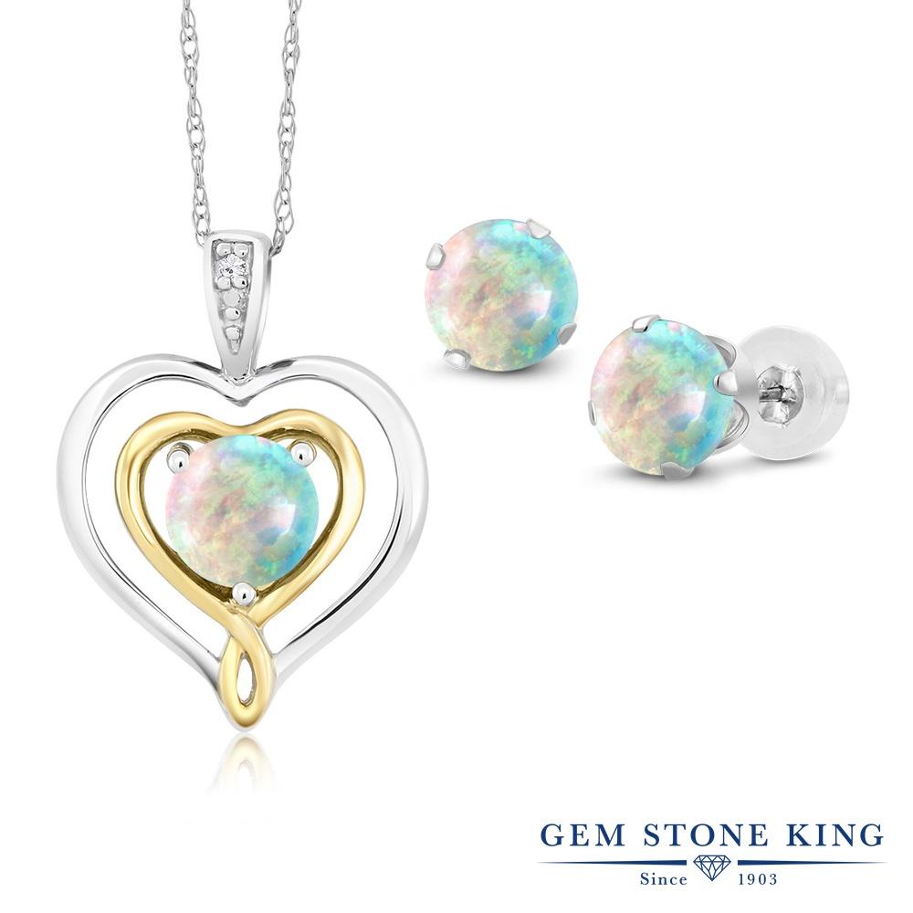 Gem Stone King 2.01カラット シミュレイテッド ホワイトオパール 天然 ダイヤモンド 10金 Two Toneゴールド(K10) ペンダント&ピアスセット レディース 小粒 10月 誕生石 金属アレルギー対応 誕生日プレゼント