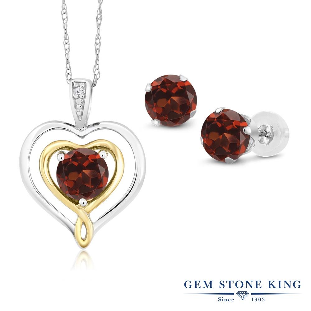 Gem Stone King 2.56カラット 天然 ガーネット 天然 ダイヤモンド 10金 Two Toneゴールド(K10) ペンダント&ピアスセット レディース 天然石 1月 誕生石 金属アレルギー対応 誕生日プレゼント