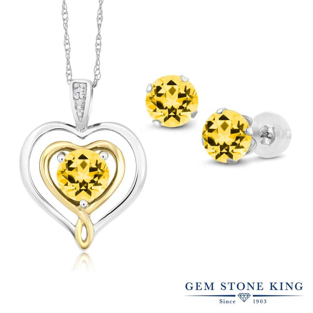 Gem Stone King 2.66カラット 天然石 トパーズ ハニースワロフスキー 天然 ダイヤモンド 10金 Two Toneゴールド(K10) ペンダント&ピアスセット レディース 天然石 金属アレルギー対応 誕生日プレゼント