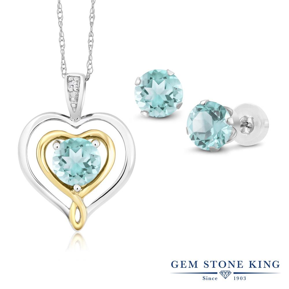 Gem Stone King 2.31カラット 天然 スカイブルートパーズ 天然 ダイヤモンド 10金 Two Toneゴールド(K10) ペンダント&ピアスセット レディース 小粒 天然石 11月 誕生石 金属アレルギー対応 誕生日プレゼント