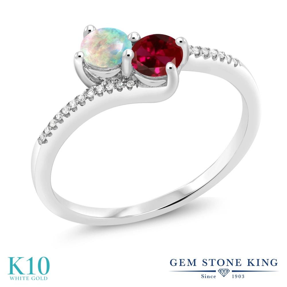 Gem Stone King 0.67カラット シミュレイテッド ホワイトオパール 合成ルビー 天然 ダイヤモンド 10金 ホワイトゴールド(K10) 指輪 リング レディース 小粒 ダブルストーン 10月 誕生石 金属アレルギー対応 誕生日プレゼント