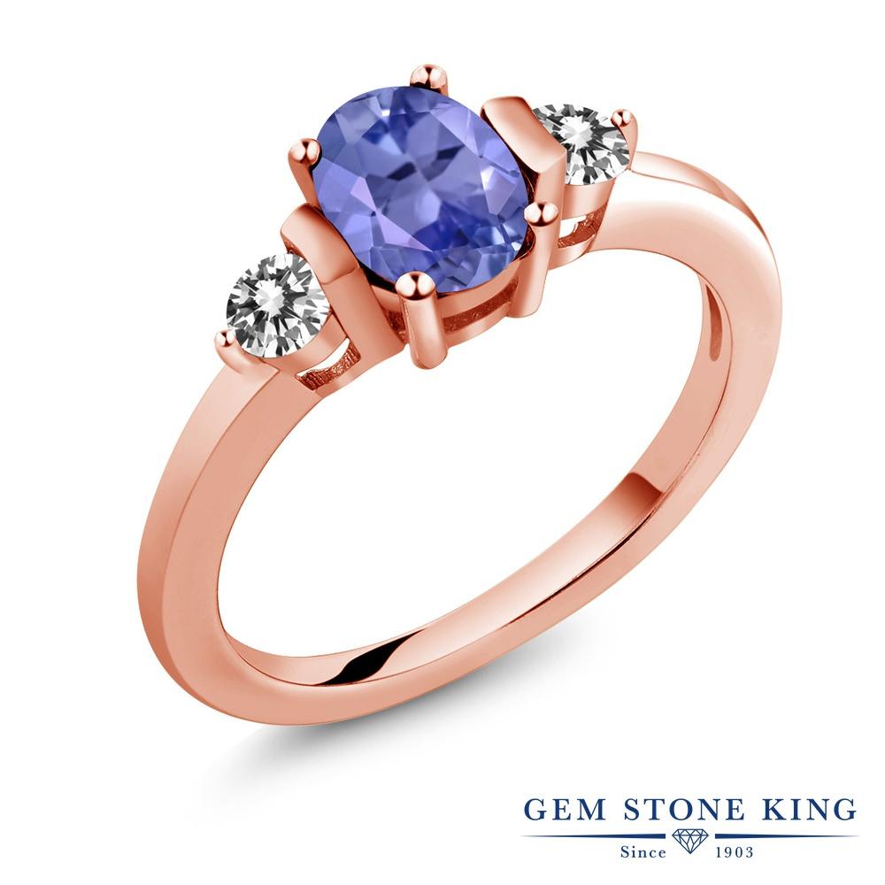 Gem Stone King 0.95カラット 天然石 タンザナイト 天然 ダイヤモンド シルバー925 ピンクゴールドコーティング 指輪 リング レディース シンプル スリーストーン 天然石 12月 誕生石 金属アレルギー対応 誕生日プレゼント