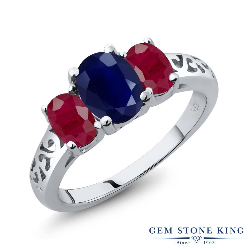 Gem Stone King 2.99カラット 天然 サファイア 天然 ルビー シルバー925 指輪 リング レディース 大粒 シンプル スリーストーン 天然石 9月 誕生石 金属アレルギー対応 誕生日プレゼント