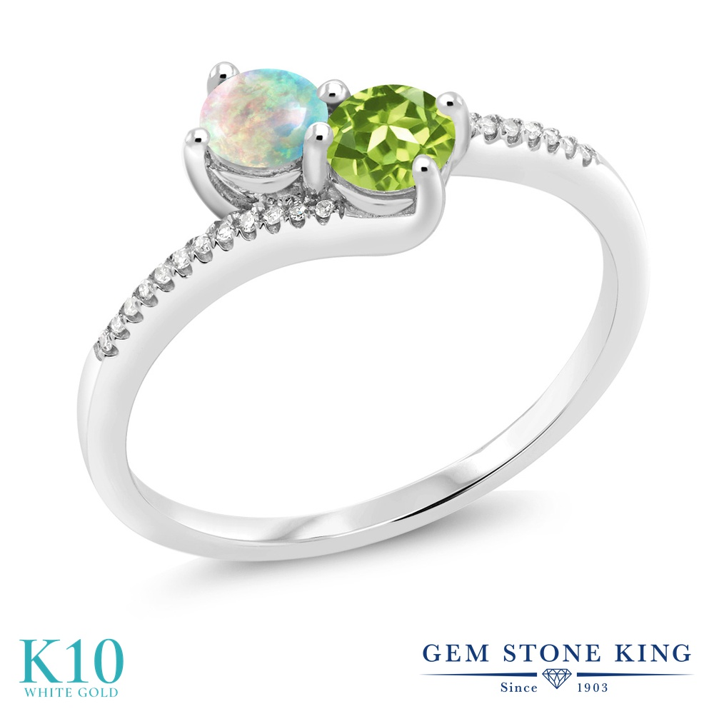 Gem Stone King 0.72カラット シミュレイテッド ホワイトオパール 天然石 ペリドット 天然 ダイヤモンド 10金 ホワイトゴールド(K10) 指輪 リング レディース 小粒 ダブルストーン 10月 誕生石 金属アレルギー対応 誕生日プレゼント