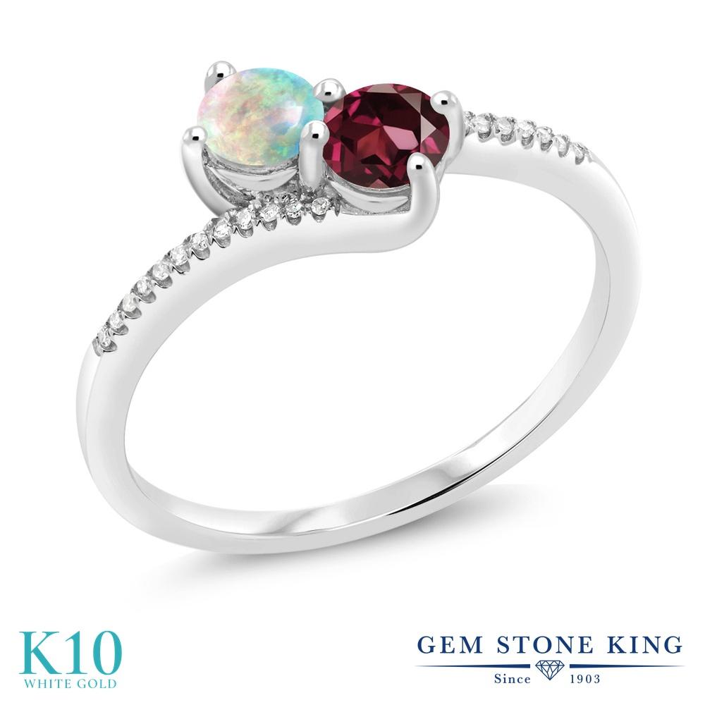 Gem Stone King 0.79カラット シミュレイテッド ホワイトオパール 天然 ロードライトガーネット 天然 ダイヤモンド 10金 ホワイトゴールド(K10) 指輪 リング レディース 小粒 ダブルストーン 10月 誕生石 金属アレルギー対応 誕生日プレゼント