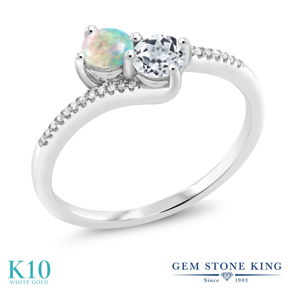 【10%OFF】 Gem Stone King 0.75カラット シミュレイテッド ホワイトオパール 天然 トパーズ ダイヤモンド 指輪 リング レディース 10金 ホワイトゴールド K10 小粒 ダブルストーン 10月 誕生石 クリスマスプレゼント 女性 彼女 妻 誕生日