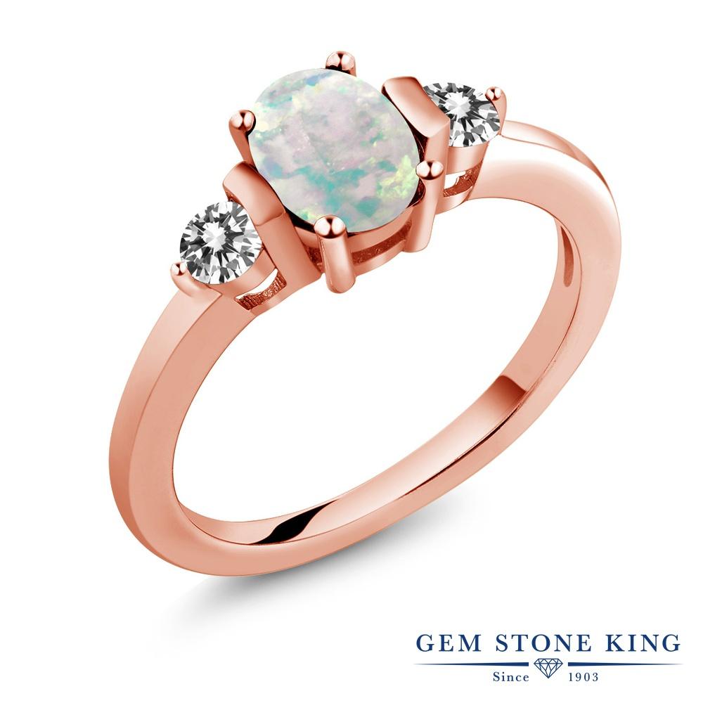 0.83カラット シミュレイテッド ホワイトオパール 天然 ダイヤモンド 指輪 リング レディース シルバー925 ピンクゴールド 加工 シンプル スリーストーン 10月 誕生石 プレゼント 女性 彼女 妻 誕生日
