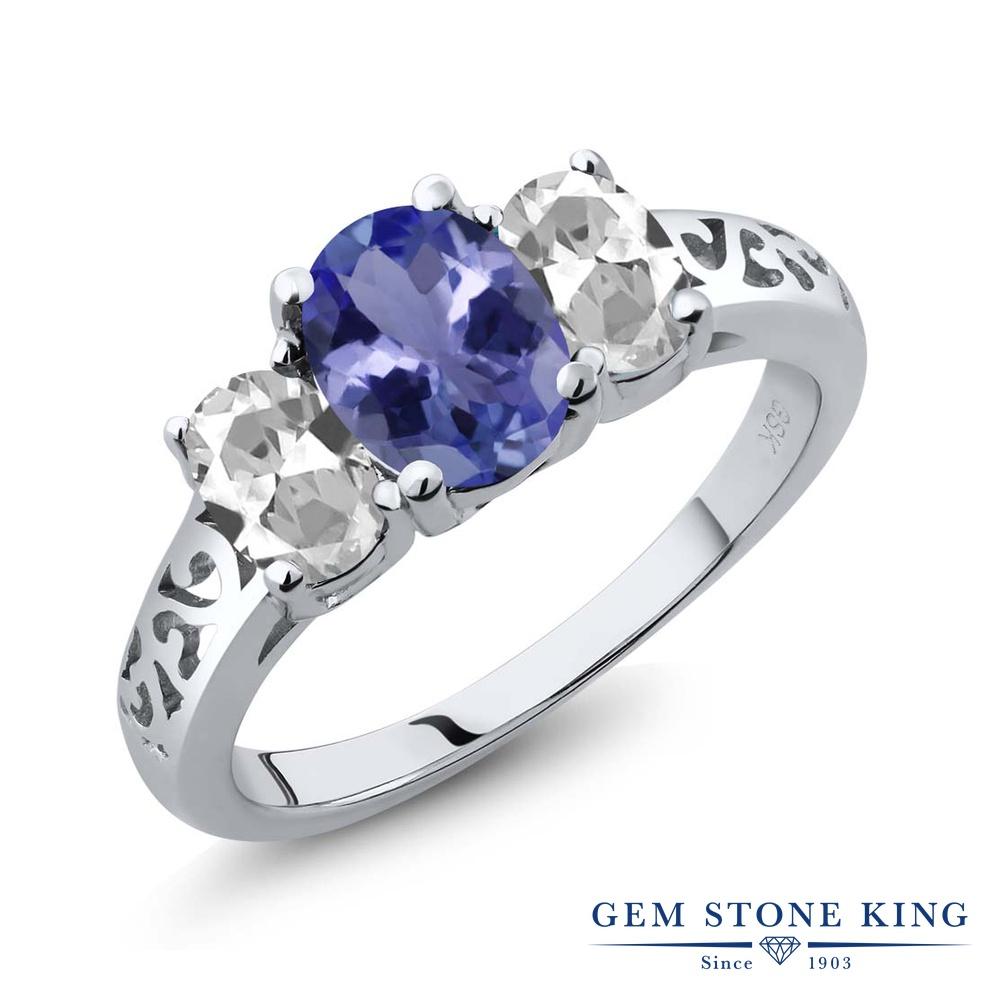 Gem Stone King 2.16カラット 天然石 タンザナイト 天然 トパーズ (無色透明) シルバー925 指輪 リング レディース 大粒 シンプル スリーストーン 天然石 12月 誕生石 金属アレルギー対応 誕生日プレゼント