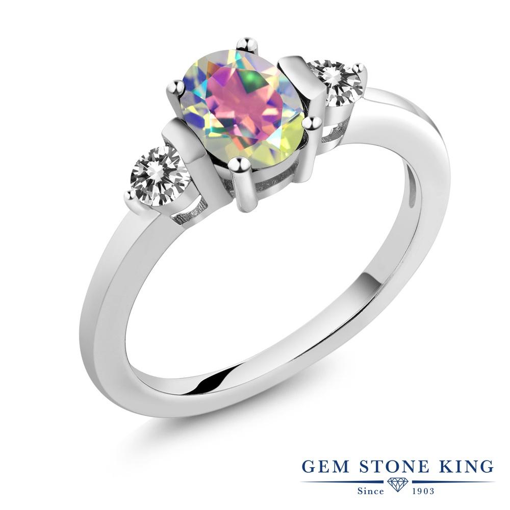 Gem Stone King 1カラット 天然石 ミスティックトパーズ (マーキュリーミスト) 天然 ダイヤモンド シルバー925 指輪 リング レディース シンプル スリーストーン 天然石 金属アレルギー対応 誕生日プレゼント