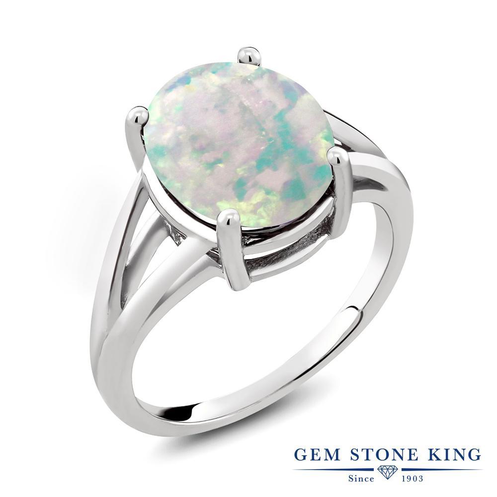 Gem Stone King 4カラット シミュレイテッド ホワイトオパール シルバー925 指輪 リング レディース 大粒 一粒 シンプル ソリティア 10月 誕生石 金属アレルギー対応 誕生日プレゼント