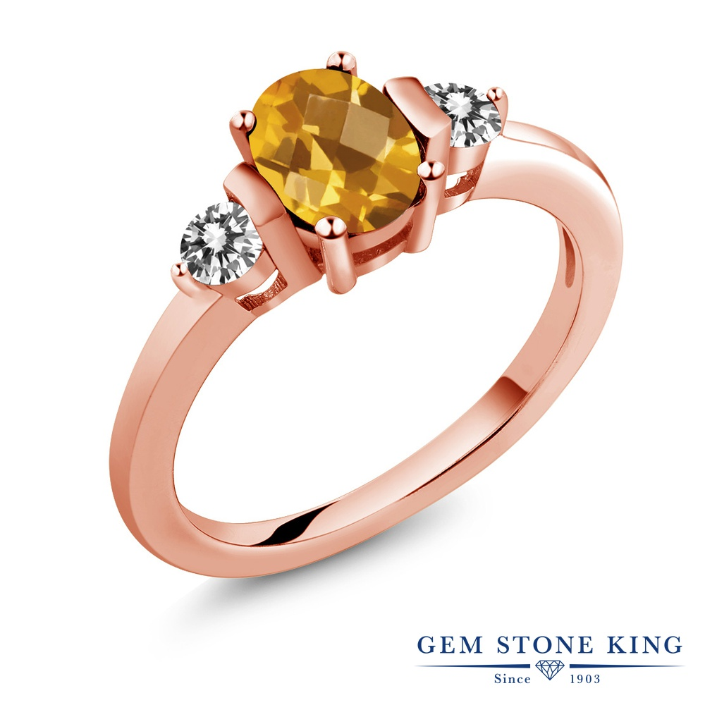 Gem Stone King 0.9カラット 天然 シトリン 天然 ダイヤモンド シルバー925 ピンクゴールドコーティング 指輪 リング レディース シンプル スリーストーン 天然石 11月 誕生石 金属アレルギー対応 誕生日プレゼント