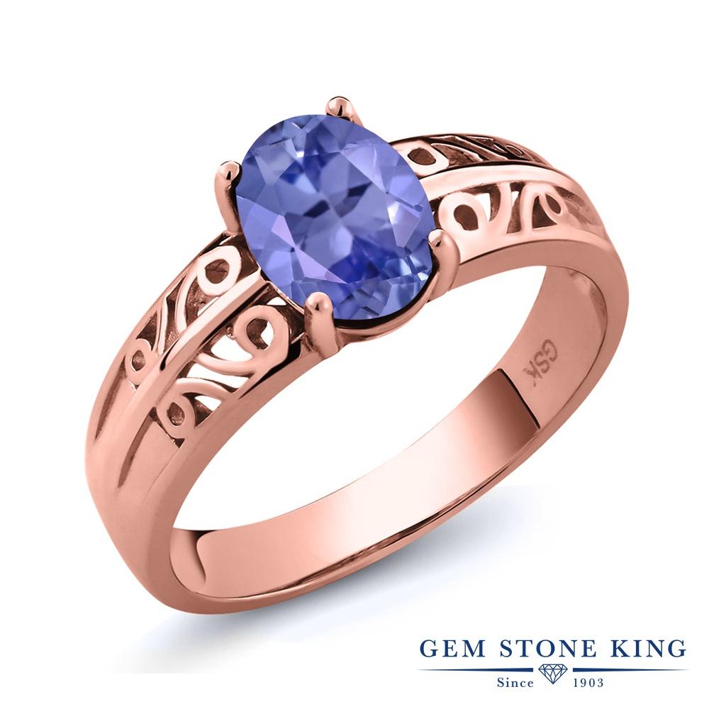 【10%OFF】 Gem Stone King 1.16カラット 天然石 タンザナイト 指輪 リング レディース シルバー925 ピンクゴールド 加工 大粒 一粒 シンプル ソリティア 12月 誕生石 クリスマスプレゼント 女性 彼女 妻 誕生日