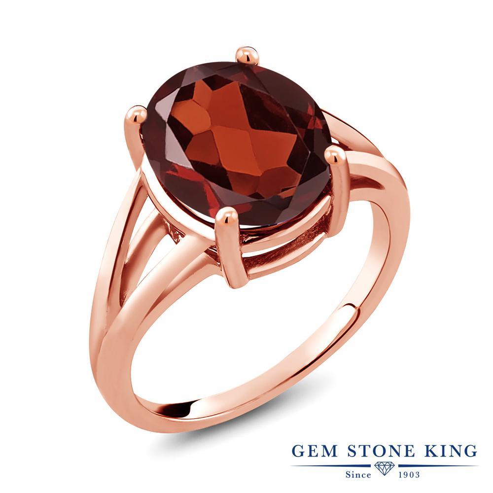 Gem Stone King 5.5カラット 天然 ガーネット シルバー925 ピンクゴールドコーティング 指輪 リング レディース 大粒 一粒 シンプル ソリティア 天然石 1月 誕生石 金属アレルギー対応 誕生日プレゼント