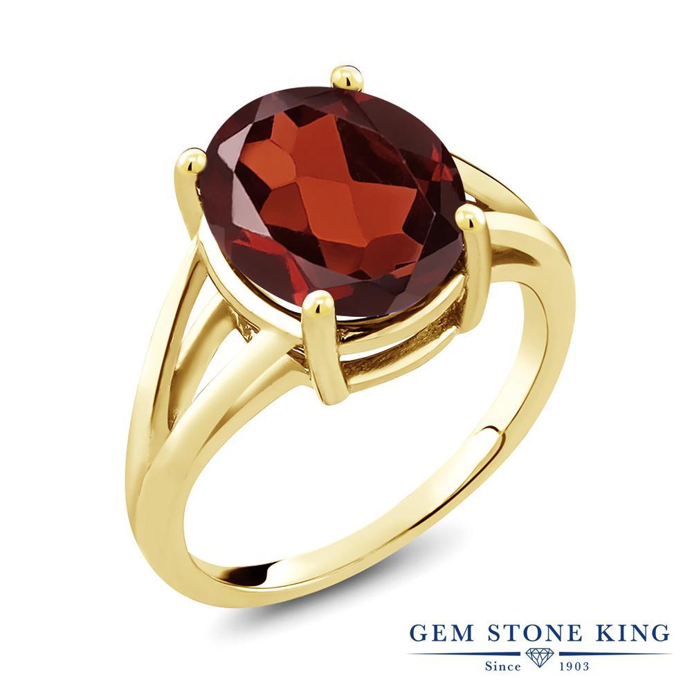 Gem Stone King 5.5カラット 天然 ガーネット シルバー925 イエローゴールドコーティング 指輪 リング レディース 大粒 一粒 シンプル ソリティア 天然石 1月 誕生石 金属アレルギー対応 誕生日プレゼント