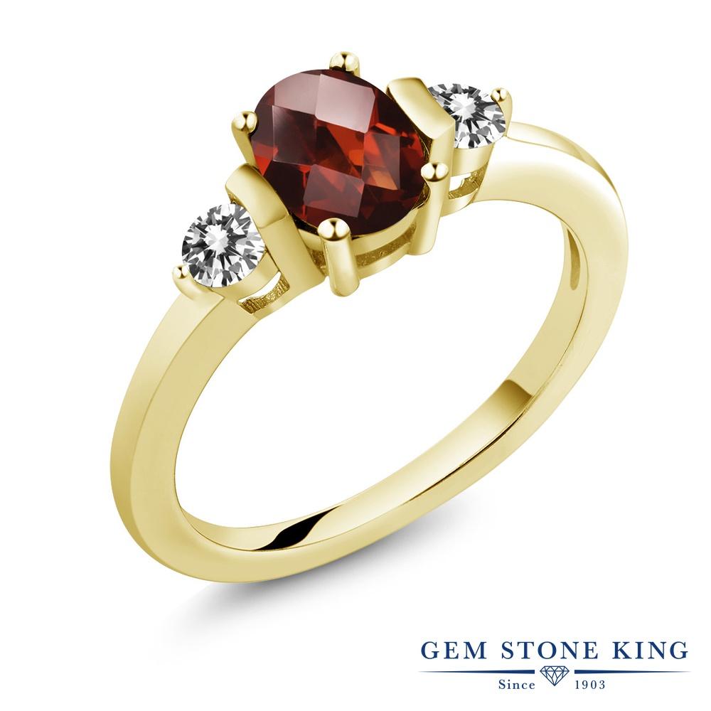 1カラット 天然 ガーネット ダイヤモンド 指輪 リング レディース シルバー925 イエローゴールド 加工 シンプル スリーストーン 天然石 1月 誕生石 プレゼント 女性 彼女 妻 誕生日