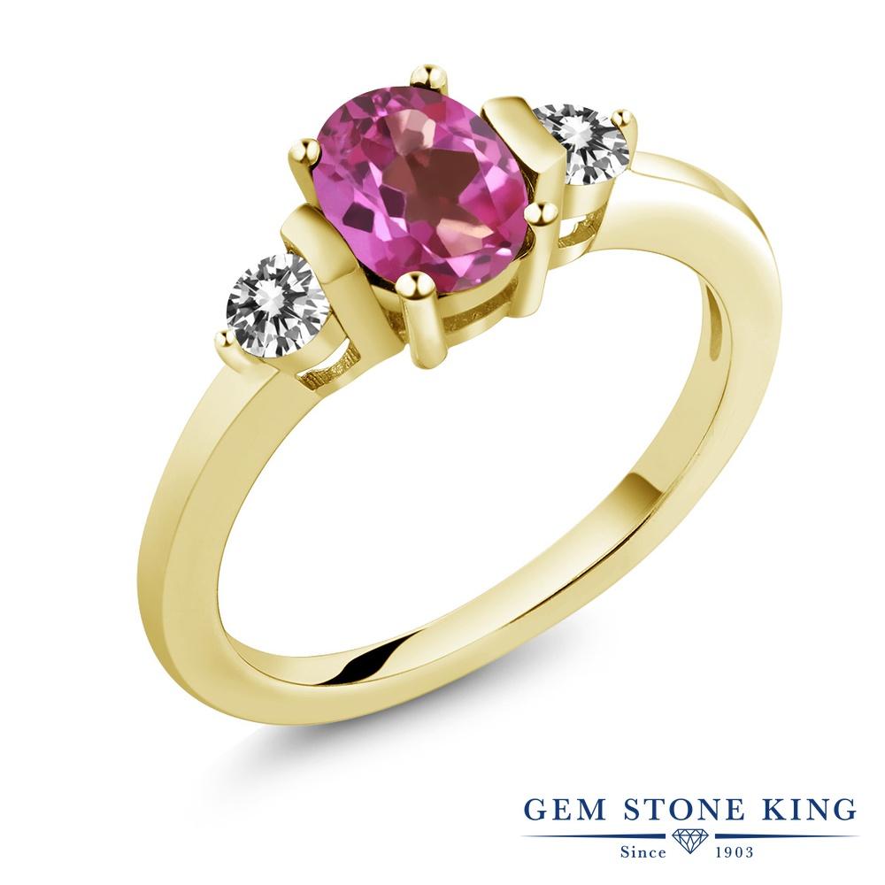 Gem Stone King 1カラット 天然ミスティックトパーズ(ピンク) シルバー 925 イエローゴールドコーティング 天然ダイヤモンド 指輪 リング レディース シンプル 天然石 誕生日プレゼント