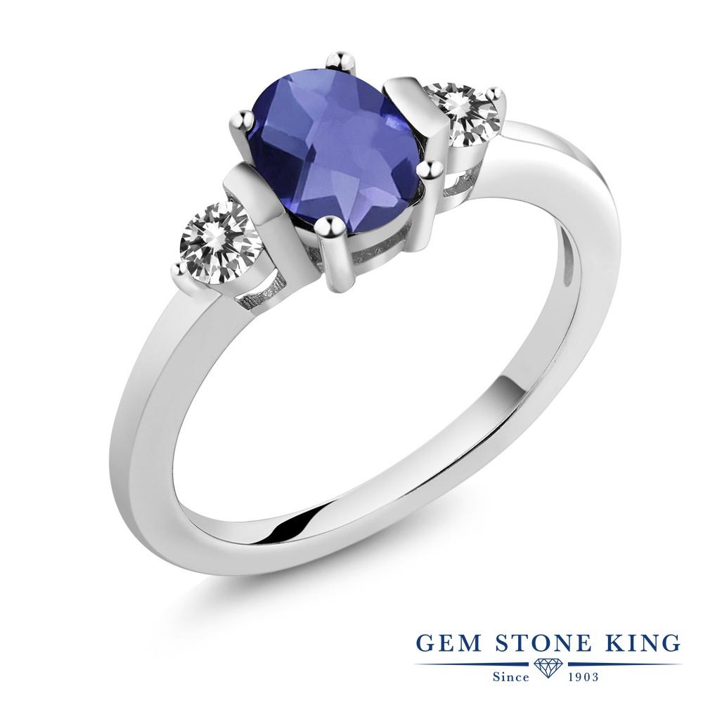 0.85カラット 天然 アイオライト (ブルー) ダイヤモンド 指輪 リング レディース シルバー925 シンプル スリーストーン 天然石 プレゼント 女性 彼女 妻 誕生日