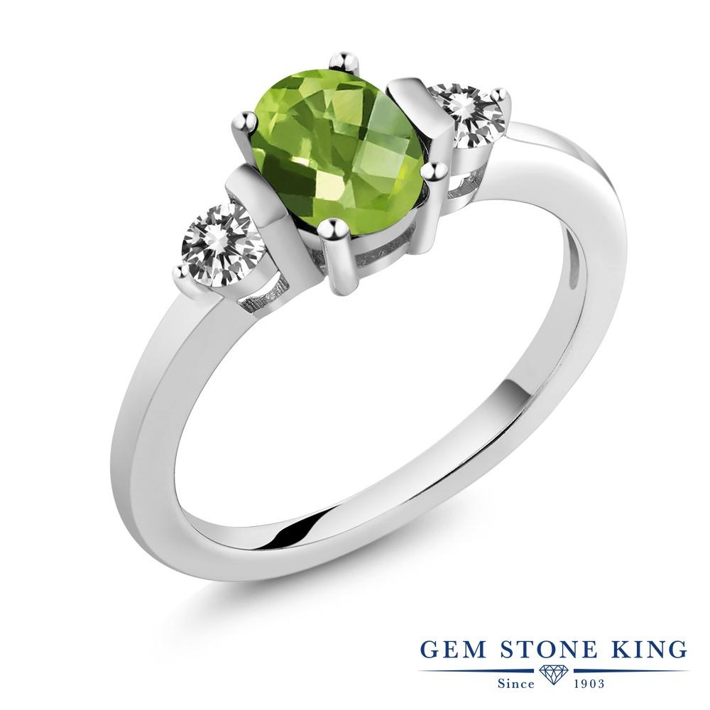 Gem Stone King 1.05カラット 天然石 ペリドット 天然 ダイヤモンド シルバー925 指輪 リング レディース シンプル スリーストーン 天然石 8月 誕生石 金属アレルギー対応 誕生日プレゼント