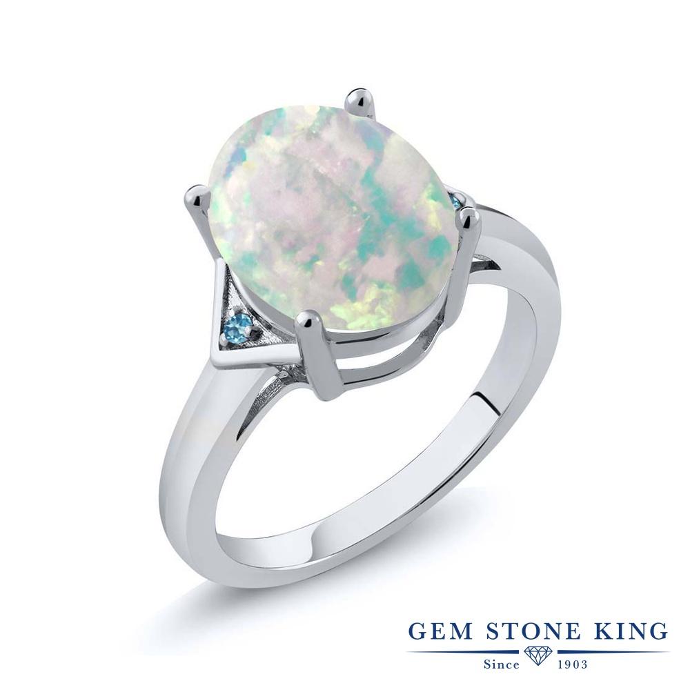Gem Stone King 4.01カラット シミュレイテッド ホワイトオパール シミュレイテッド スカイブルートパーズ シルバー925 指輪 リング レディース 大粒 シンプル ソリティア 10月 誕生石 金属アレルギー対応 誕生日プレゼント