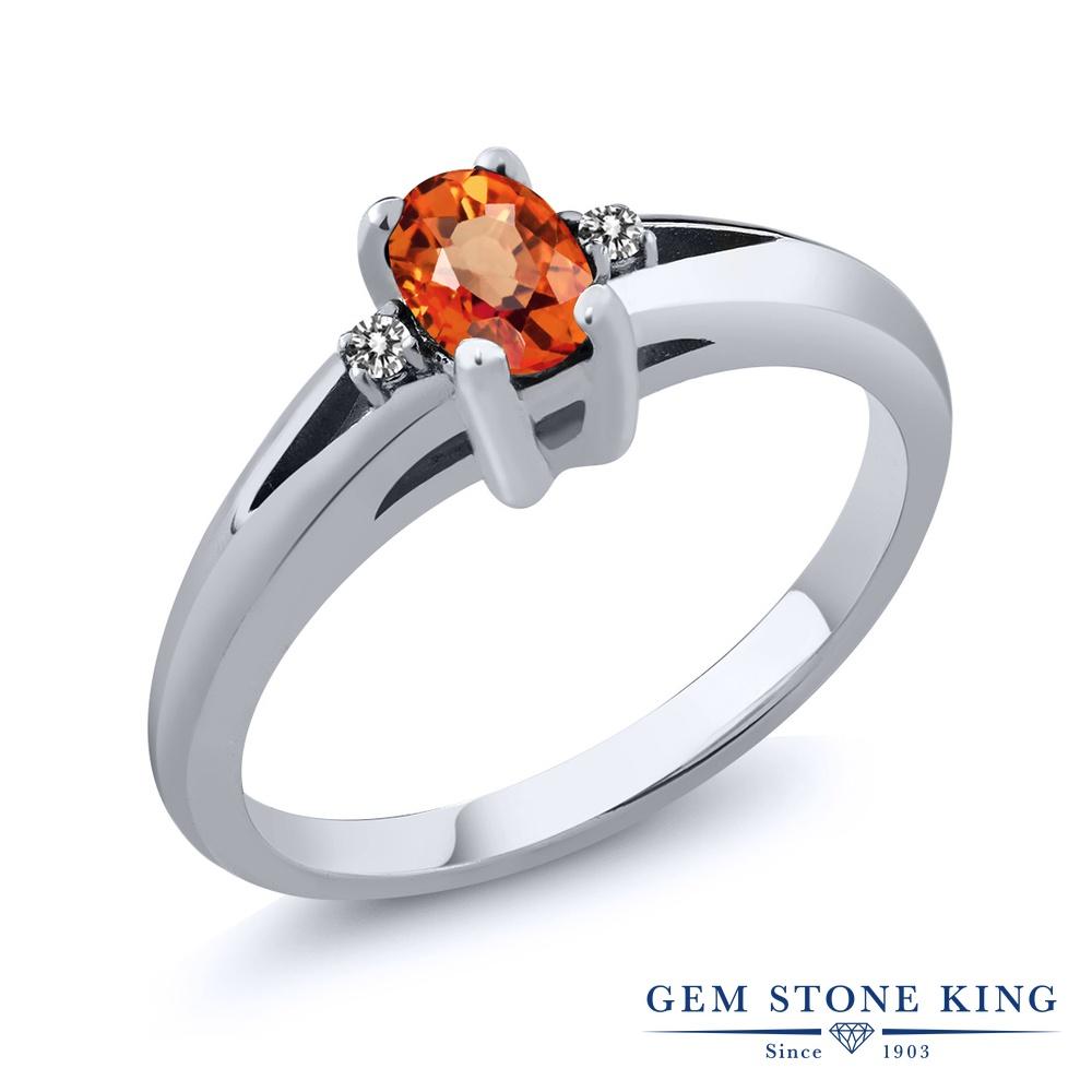 おしゃれ ダイヤモンド シルバー925 エンゲージリング 天然石 ブランド 婚約指輪 天然 9月 誕生石 0.58カラット 指輪 ダブルストーン オレンジサファイア レディース リング