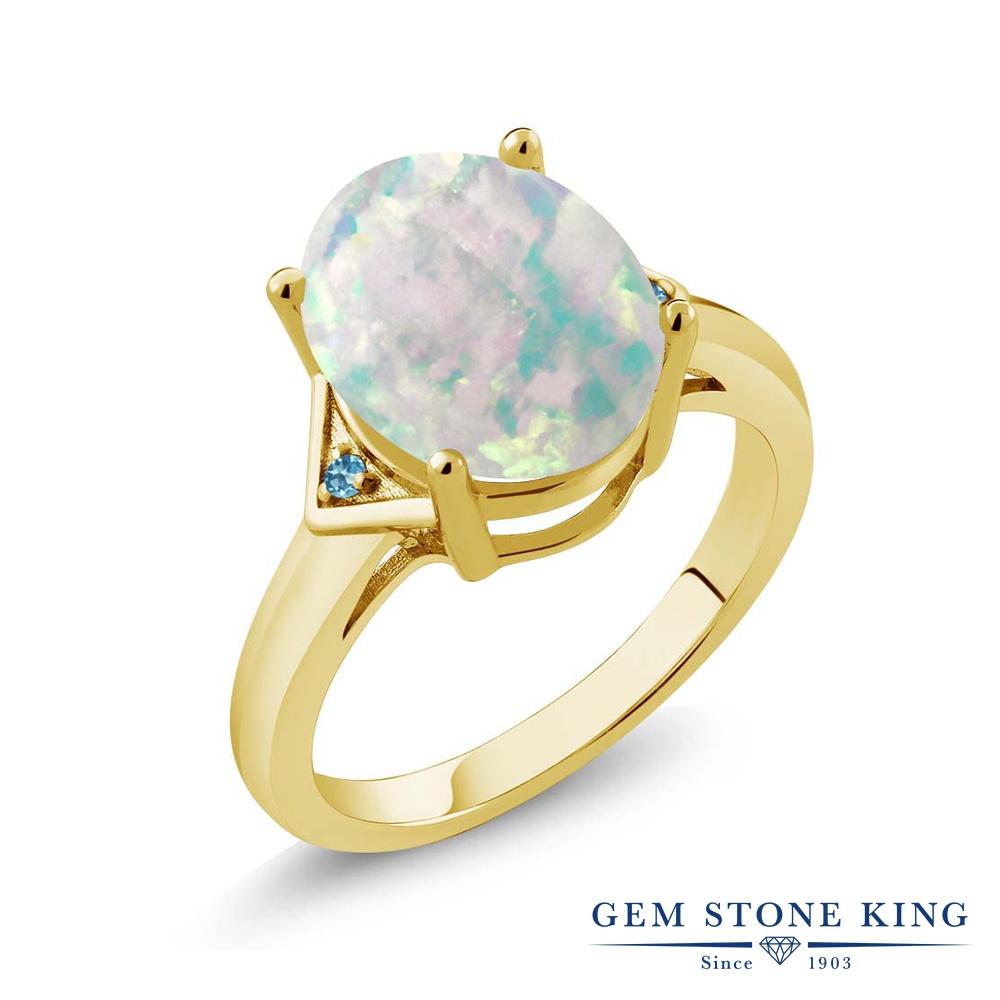 Gem Stone King 4.01カラット シミュレイテッド ホワイトオパール シミュレイテッド スカイブルートパーズ シルバー925 イエローゴールドコーティング 指輪 リング レディース 大粒 シンプル ソリティア 10月 誕生石 金属アレルギー対応 誕生日プレゼント