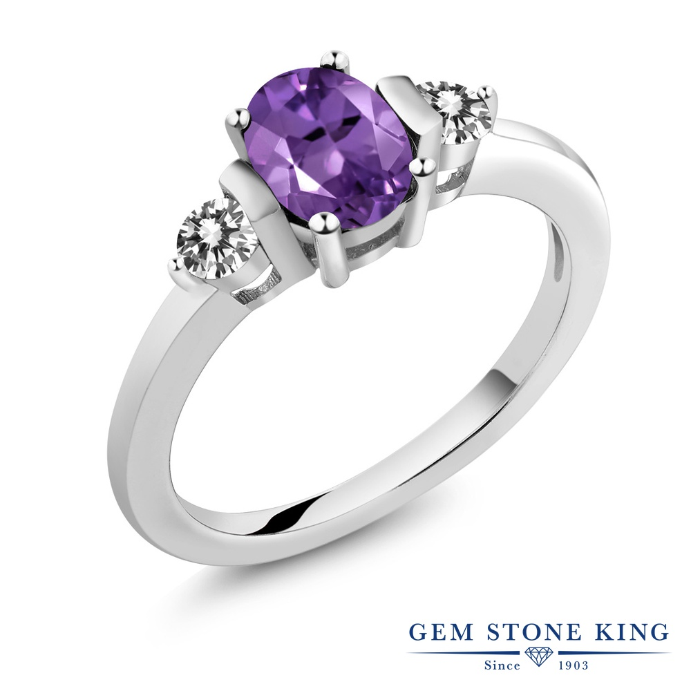 0.95カラット 天然 アメジスト 指輪 レディース リング ダイヤモンド シルバー925 ブランド おしゃれ 3連 アメシスト 紫 シンプル スリーストーン 天然石 2月 誕生石 プレゼント 女性 彼女 妻 誕生日