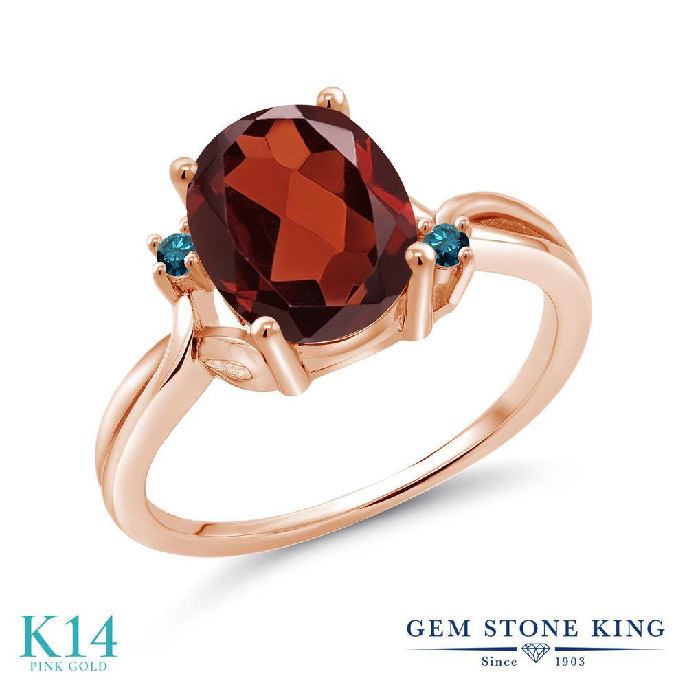 Gem Stone King 2.53カラット 天然ガーネット 14金 ローズゴールド(K14) 天然ブルーダイヤモンド 指輪 リング レディース 大粒 シンプル 天然石 誕生石 誕生日プレゼント