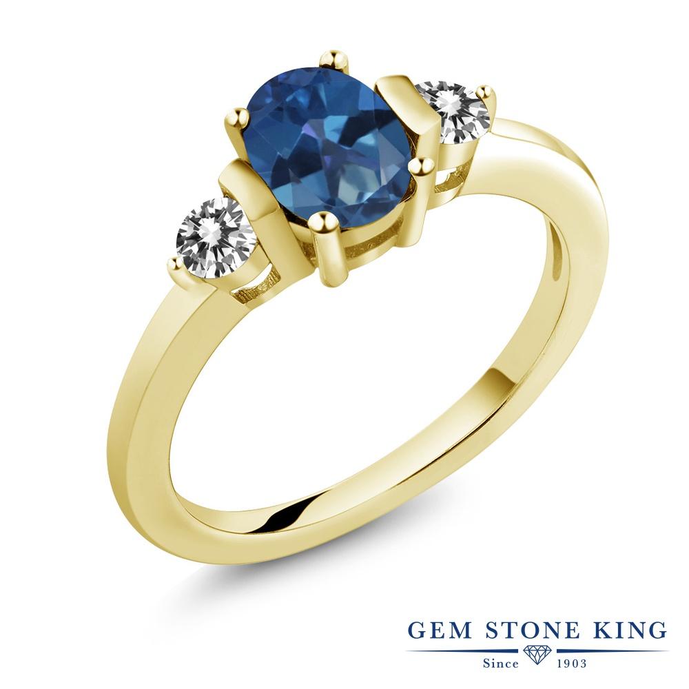 1カラット 天然 ミスティックトパーズ (サファイアブルー) ダイヤモンド 指輪 リング レディース シルバー925 イエローゴールド 加工 シンプル スリーストーン 天然石 プレゼント 女性 彼女 妻 誕生日