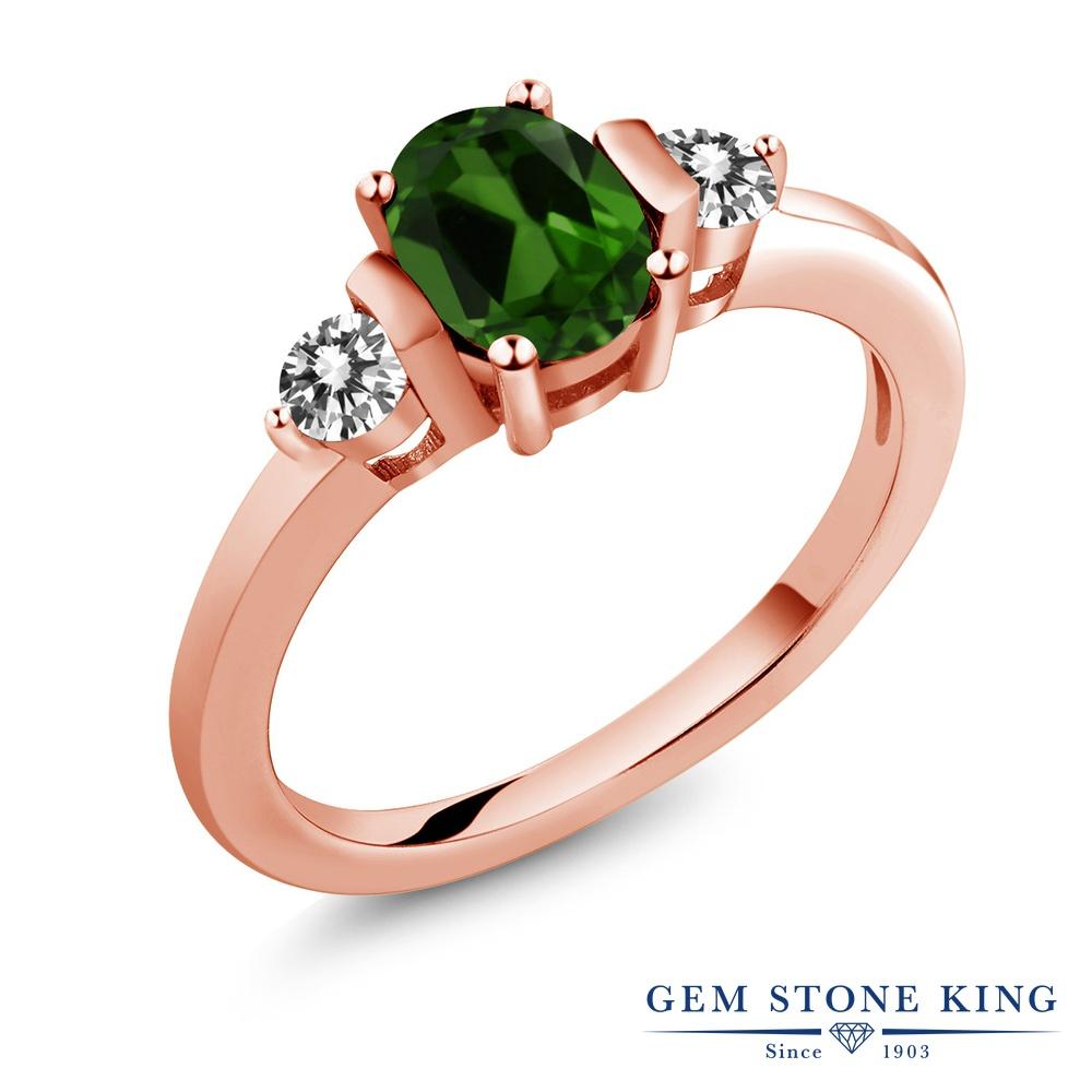 1カラット 天然 クロムダイオプサイド 指輪 レディース リング ダイヤモンド ピンクゴールド 加工 シルバー925 ブランド おしゃれ 3連 緑 シンプル スリーストーン 天然石 プレゼント 女性 彼女 妻 誕生日