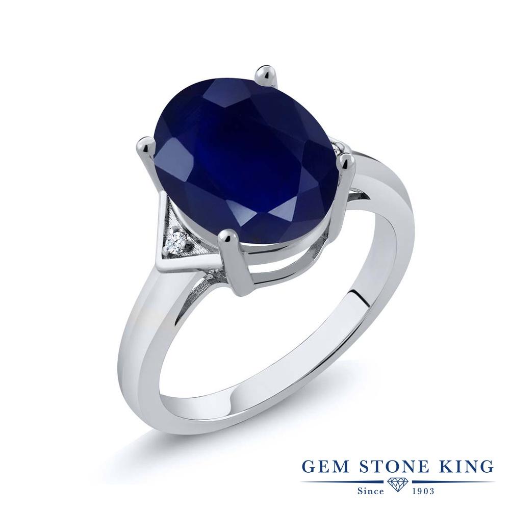 Gem Stone King 5.02カラット 天然 サファイア 天然 トパーズ (無色透明) シルバー925 指輪 リング レディース 大粒 シンプル ソリティア 天然石 9月 誕生石 金属アレルギー対応 誕生日プレゼント