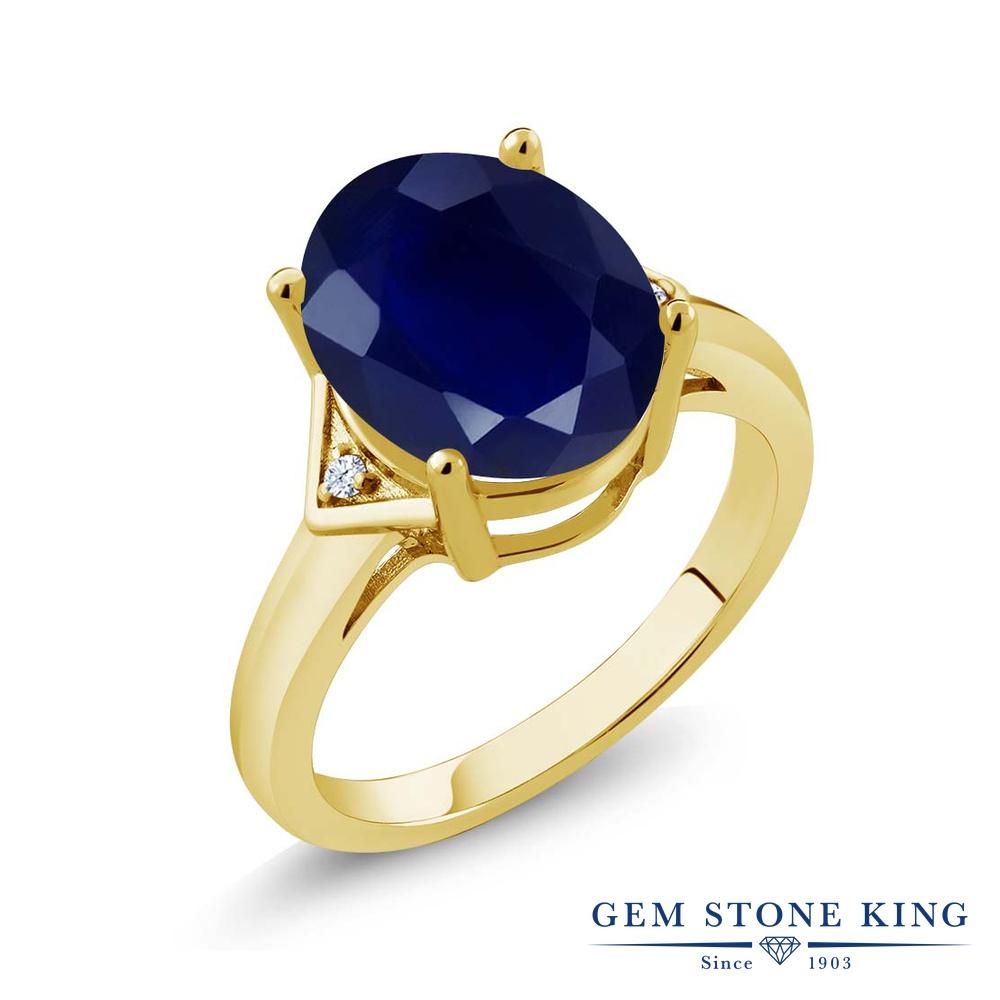 Gem Stone King 5.02カラット 天然 サファイア 天然 トパーズ (無色透明) シルバー925 イエローゴールドコーティング 指輪 リング レディース 大粒 シンプル ソリティア 天然石 9月 誕生石 金属アレルギー対応 誕生日プレゼント
