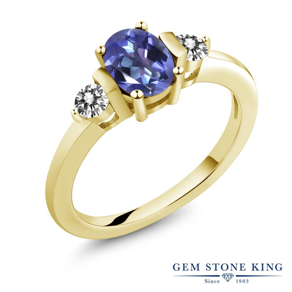 1カラット 天然 ミスティックトパーズ (タンザナイトブルー) 指輪 レディース リング ダイヤモンド イエローゴールド 加工 シルバー925 ブランド おしゃれ 3連 青 シンプル スリーストーン 天然石 プレゼント 女性 彼女 妻 誕生日