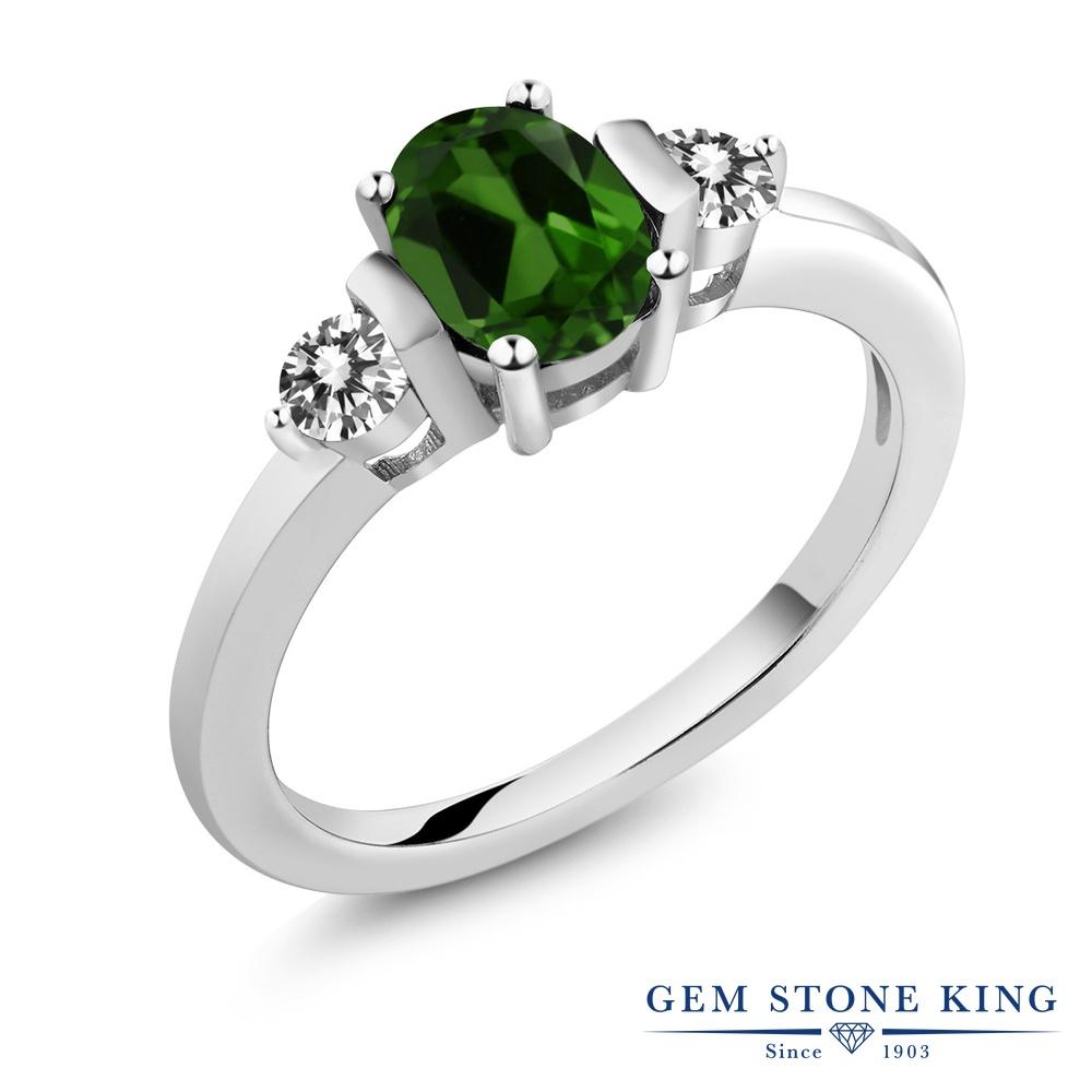Gem Stone King 1カラット 天然クロムダイオプサイド シルバー925 天然ダイヤモンド 指輪 リング レディース シンプル 天然石 誕生日プレゼント