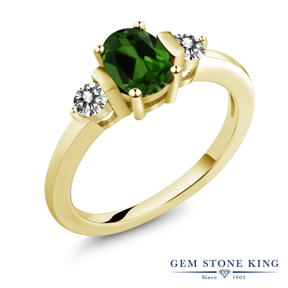 Gem Stone King 1カラット 天然クロムダイオプサイド シルバー 925 イエローゴールドコーティング 天然ダイヤモンド 指輪 リング レディース シンプル 天然石 誕生日プレゼント