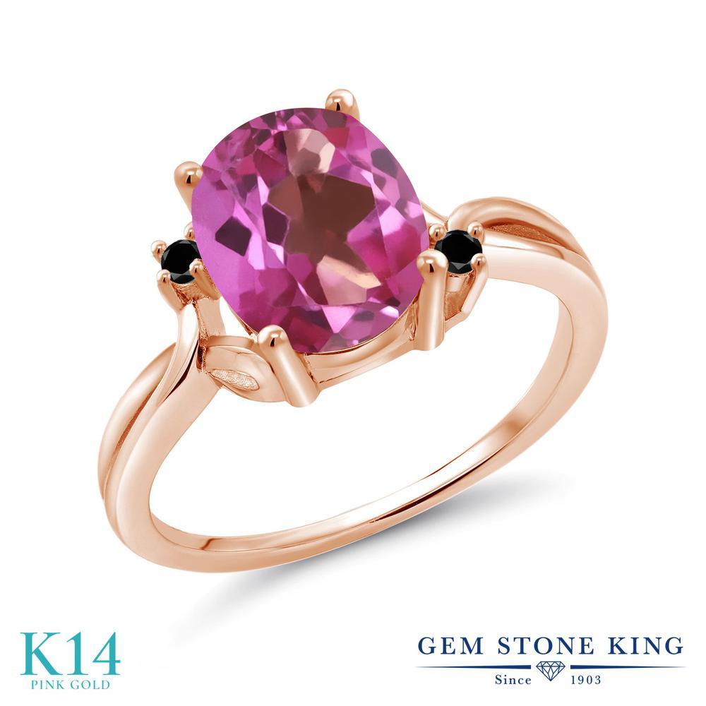 Gem Stone King 2.73カラット 天然ミスティックトパーズ(ピンク) 14金 ローズゴールド(K14) 天然ブラックダイヤモンド 指輪 リング レディース 大粒 シンプル 天然石 誕生日プレゼント