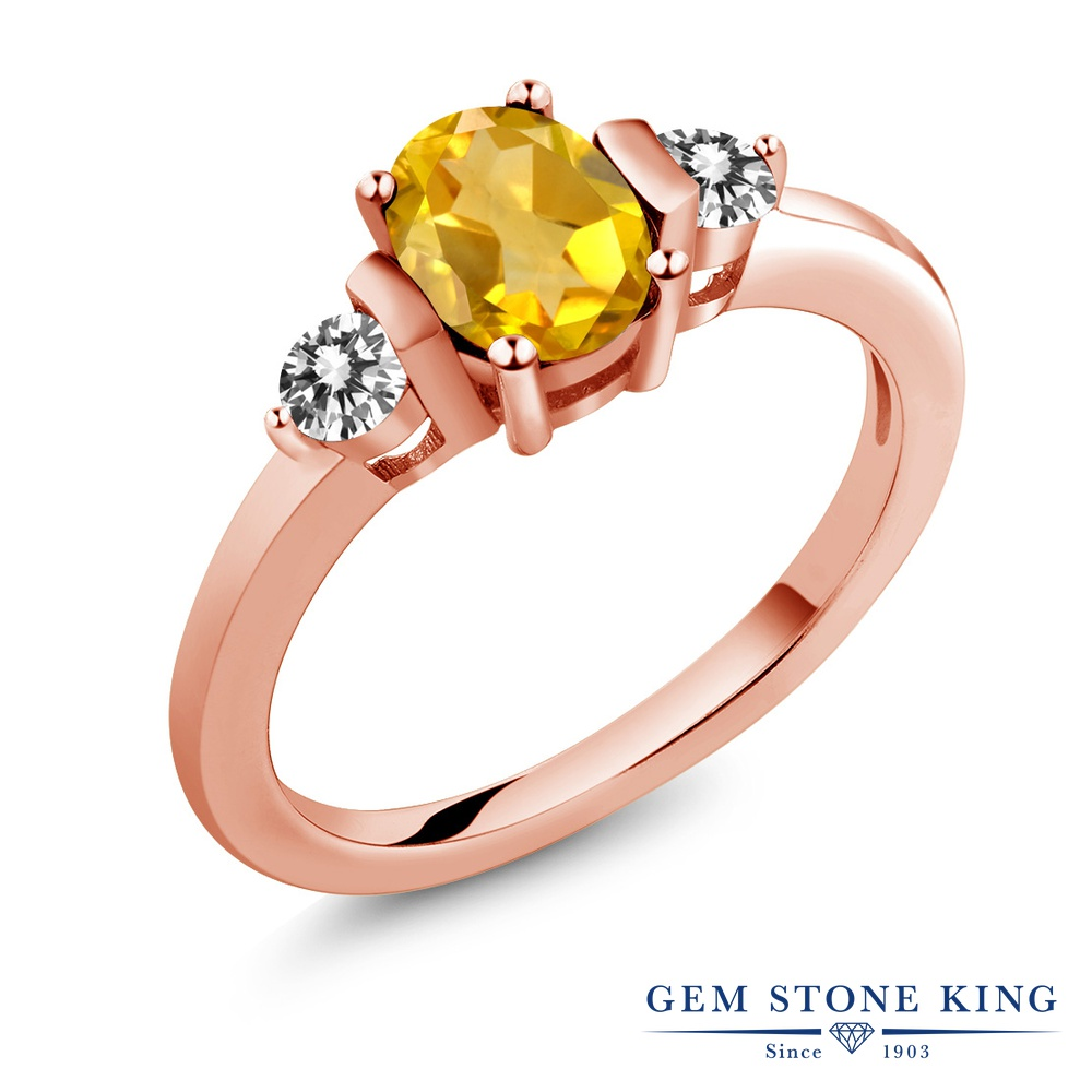 Gem Stone King 0.8カラット 天然シトリン シルバー 925 ローズゴールドコーティング 天然ダイヤモンド 指輪 リング レディース シンプル 天然石 誕生石 誕生日プレゼント