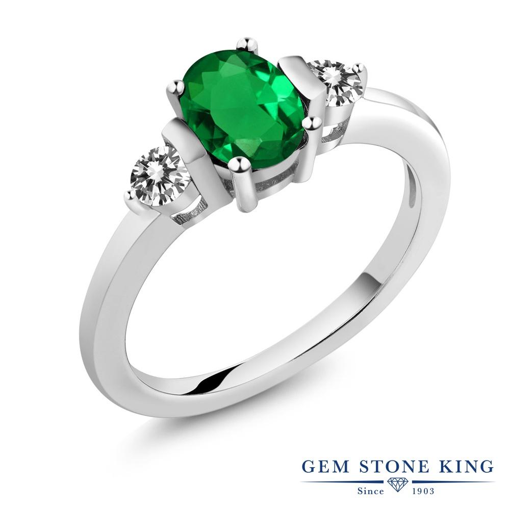0.8カラット ナノエメラルド 指輪 レディース リング 天然 ダイヤモンド シルバー925 ブランド おしゃれ 3連 緑 シンプル スリーストーン プレゼント 女性 彼女 妻 誕生日