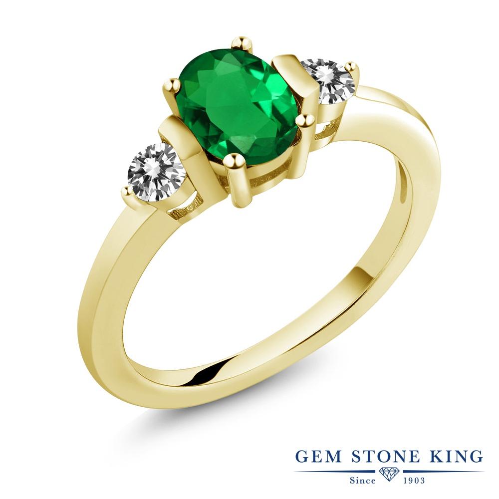 0.8カラット ナノエメラルド 天然 ダイヤモンド 指輪 リング レディース シルバー925 イエローゴールド 加工 シンプル スリーストーン プレゼント 女性 彼女 妻 誕生日