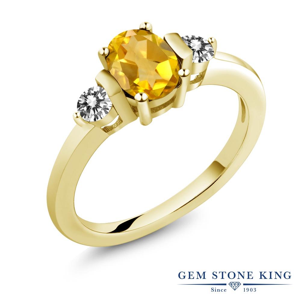 Gem Stone King 0.8カラット 天然シトリン シルバー 925 イエローゴールドコーティング 天然ダイヤモンド 指輪 リング レディース シンプル 天然石 誕生石 誕生日プレゼント