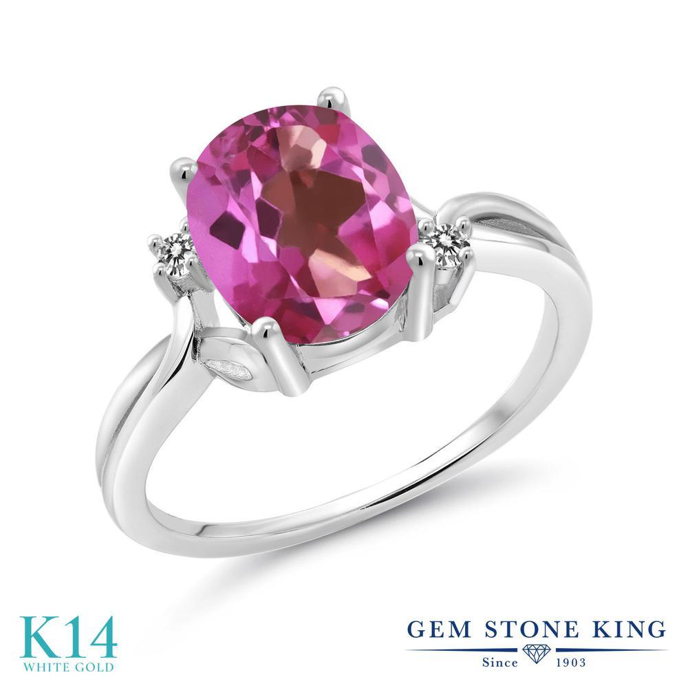 Gem Stone King 2.73カラット 天然ミスティックトパーズ(ピンク) 14金 ホワイトゴールド(K14) 天然ダイヤモンド 指輪 リング レディース 大粒 シンプル 天然石 誕生日プレゼント