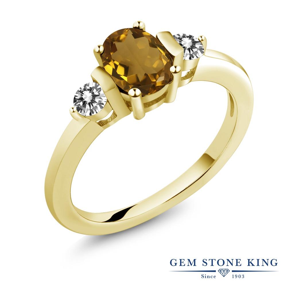 0.9カラット 天然石 ウィスキークォーツ 天然 ダイヤモンド 指輪 リング レディース シルバー925 イエローゴールド 加工 シンプル スリーストーン プレゼント 女性 彼女 妻 誕生日
