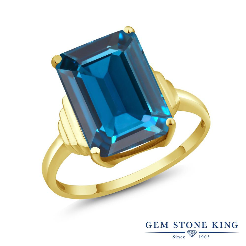 Gem Stone King 9.5カラット 天然 ロンドンブルートパーズ シルバー925 イエローゴールドコーティング 指輪 リング レディース 大粒 一粒 シンプル ソリティア 天然石 11月 誕生石 金属アレルギー対応 誕生日プレゼント