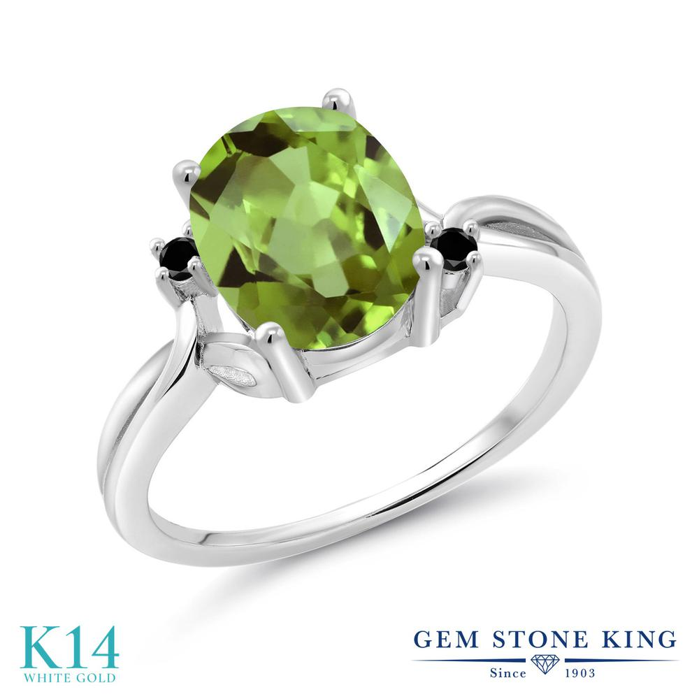 Gem Stone King 3.03カラット 天然石ペリドット 14金 ホワイトゴールド(K14) 天然ブラックダイヤモンド 指輪 リング レディース 大粒 シンプル ソリティア 天然石 誕生石 金属アレルギー対応 誕生日プレゼント