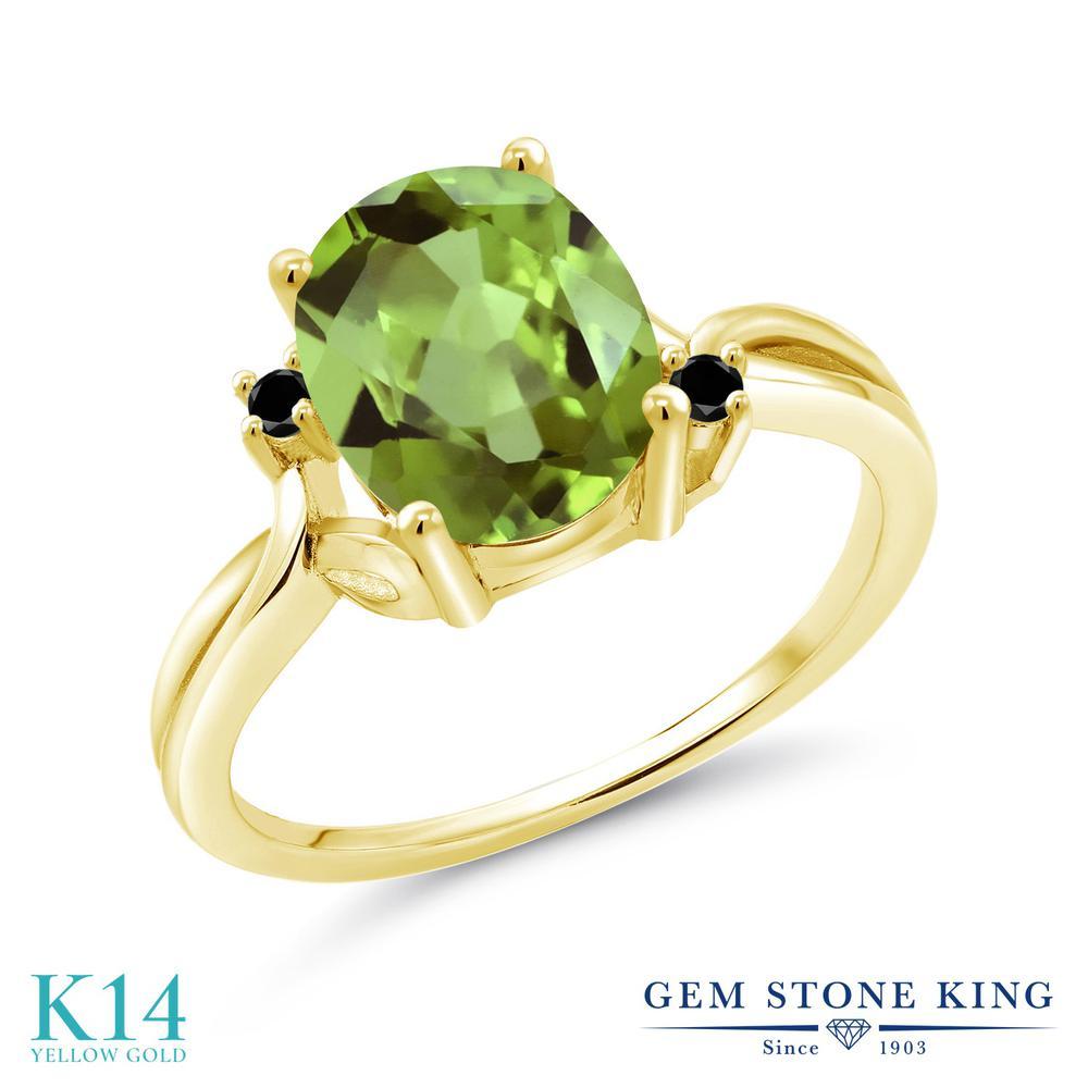 【10%OFF】 2.83カラット 天然石 ペリドット 指輪 レディース リング ブラックダイヤモンド 14金 イエローゴールド K14 ブランド おしゃれ 緑 大粒 シンプル ソリティア 8月 誕生石 プレゼント 女性 彼女 妻 誕生日