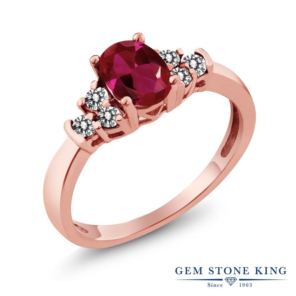 Gem Stone King 0.88カラット 合成ルビー 天然 ダイヤモンド シルバー925 ピンクゴールドコーティング 指輪 リング レディース マルチストーン 金属アレルギー対応 誕生日プレゼント