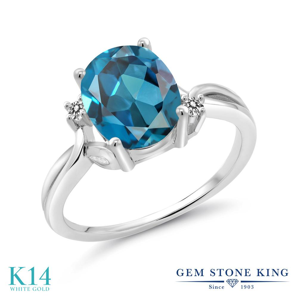 Gem Stone King 2.83カラット 天然トパーズ(ロンドンブルー) 14金 ホワイトゴールド(K14) 天然ダイヤモンド 指輪 リング レディース 大粒 シンプル 天然石 誕生石 誕生日プレゼント