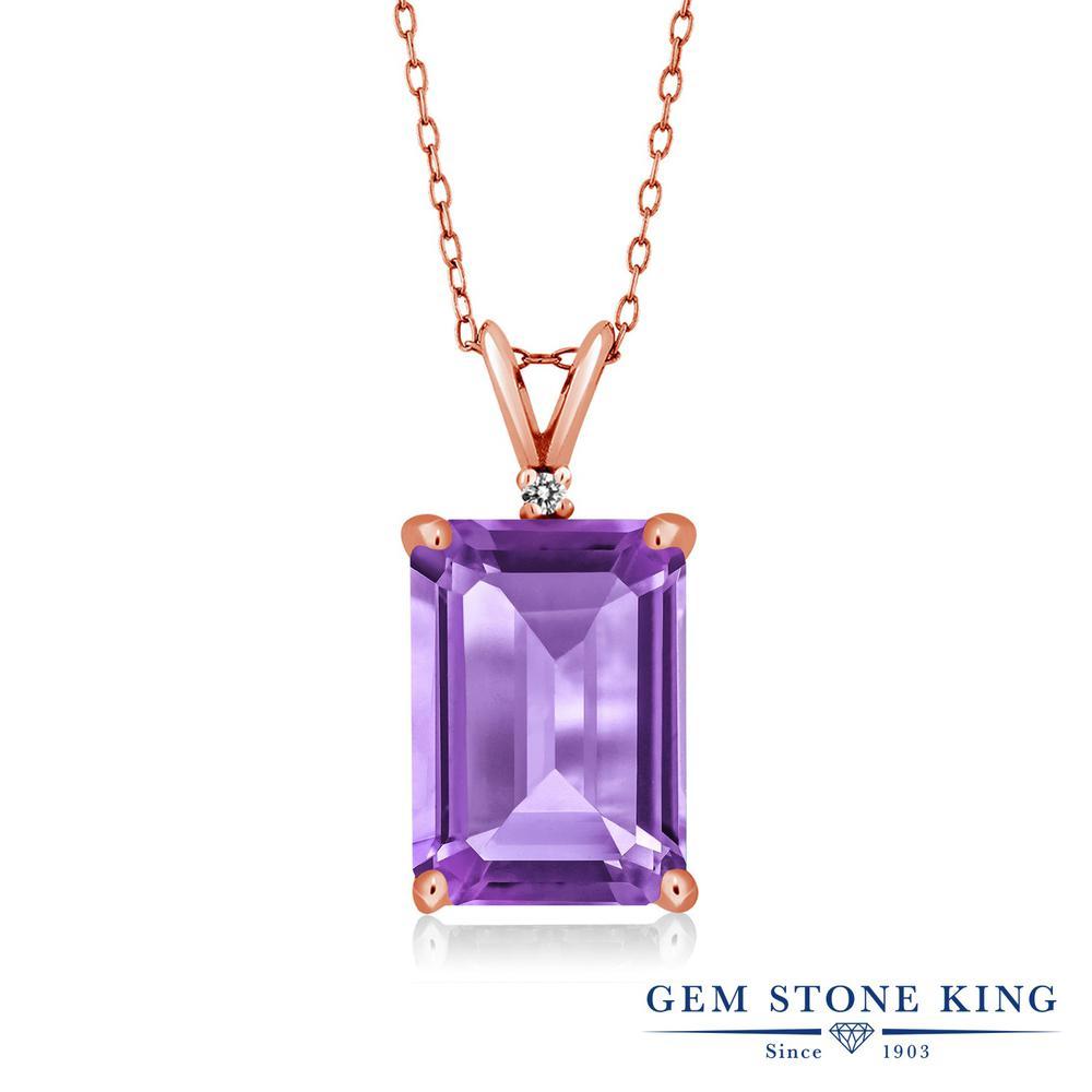 Gem Stone King 6.27カラット 天然 アメジスト 天然 ダイヤモンド シルバー925 ピンクゴールドコーティング ネックレス ペンダント レディース 大粒 シンプル 天然石 2月 誕生石 金属アレルギー対応 誕生日プレゼント