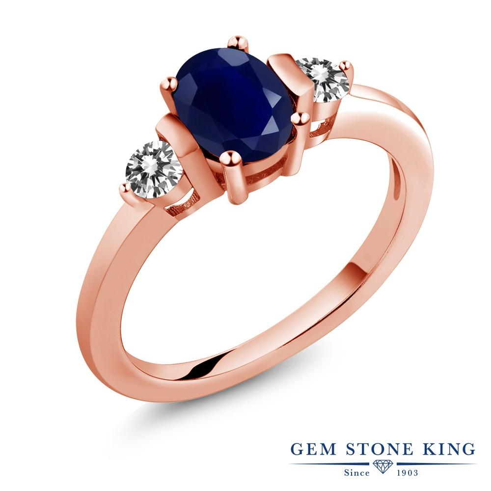Gem Stone King 1.22カラット 天然サファイア シルバー 925 ローズゴールドコーティング 天然ダイヤモンド 指輪 リング レディース 大粒 シンプル 天然石 誕生石 誕生日プレゼント