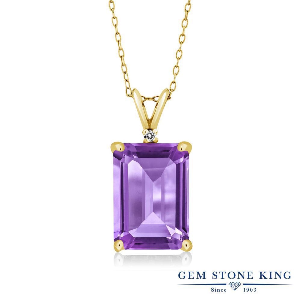 Gem Stone King 6.27カラット 天然 アメジスト 天然 ダイヤモンド シルバー925 イエローゴールドコーティング ネックレス ペンダント レディース 大粒 シンプル 天然石 2月 誕生石 金属アレルギー対応 誕生日プレゼント