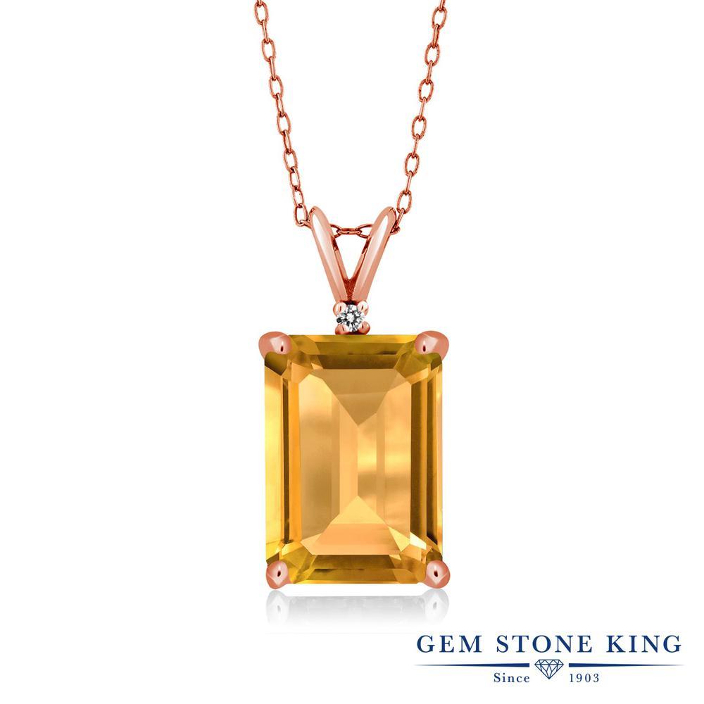 Gem Stone King 8.22カラット 天然 シトリン 天然 ダイヤモンド シルバー925 ピンクゴールドコーティング ネックレス ペンダント レディース 大粒 シンプル 天然石 11月 誕生石 金属アレルギー対応 誕生日プレゼント